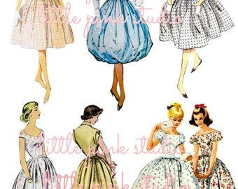 Pattern Ladies,  printable planner sticker sheet, vintage style, vintage ephemera