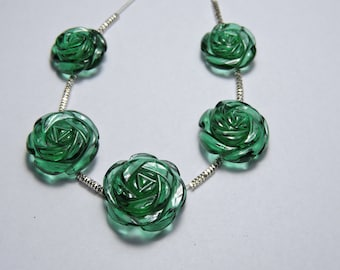 5 Pcs Very Attractive Green Quartz Hand Carved Rose Flower Beads Size 17X17 - 13X13 MM