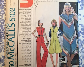 McCall's 5102 COMPLETE vintage pattern for Misses Dress, Top, & Pants Sizes 10-12-14 copyright 1976