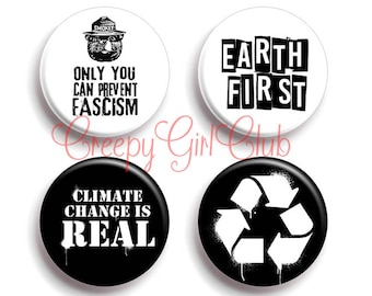 Earth First Pin Set: Smokey Bear Only You Can Prevent Fascism, Climate Change Is Real, Recycle