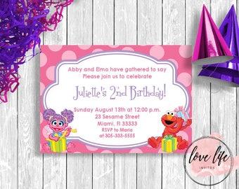 Abby Cadabby Birthday Invitation   Sesame Street Birthday Invitation   Kids Birthday Invitation   Girls Birthday Party   Abby Party
