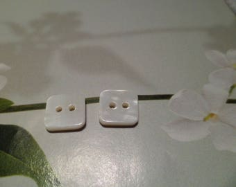 10 buttons 10 mm white shell Pearl