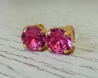 Girly Pink Studs, Pink Stud Earrings, Valentines Day gift, gifts for her, Swarovski Pink Crystal Studs, Pink jewelry, Swarovski Crystal
