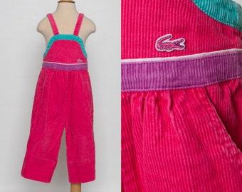 vintage Izod toddler girl overalls 80s pink corduroys kids