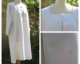 Vintage 1900 /1920 French Edwardian pure linen shirt or nightgown, never worn!