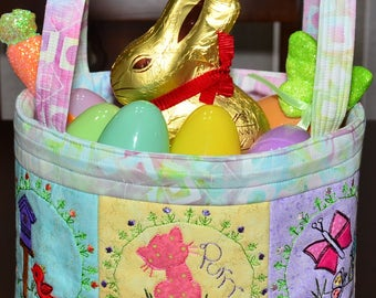 Handmade Basket - Fabric - Embroidered - Spring - Easter Fabric Basket - Embroidered Fabric Easter or Spring Basket