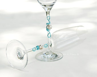 crystal champagne flute, tall wedding toast glass,  SWAROVSKI pearl beaded stemware, pool blue aqua and white