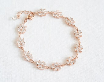 Bridal Crystal Bracelet, Rose Gold Wedding Bracelet, Leaf Filigree Bracelet, CZ Bracelet, Wedding Bridal Jewelry, Tennis Bracelet, CLAIRE