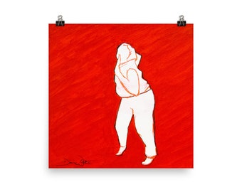 Red Expressive Dance Painting, Red Dance Art Print, Dance Therapy, Dance Movement Therapy, Dancer Painting, Woman Dancing Art Print