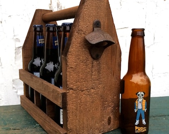 Men's Rustic Wooden 6 Pack Beer Carrier Bottle Storage Tote, Ready To Ship