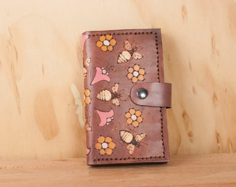 Coin Pocket Wallet - Small Womens Leather Wallet in the Meadow Pattern with bees, honeycomb and flowers - pink and antique mahogany