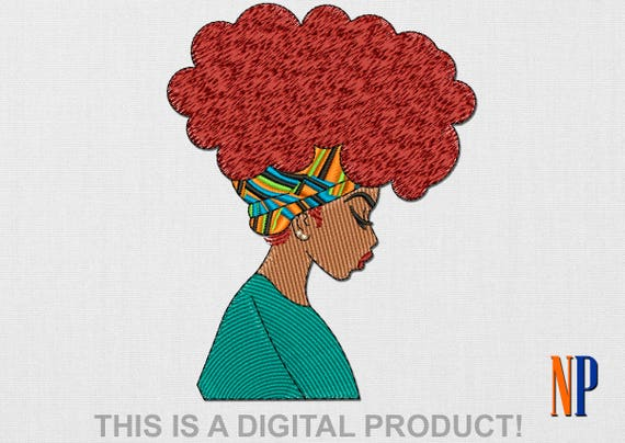 Instant Download African Girl Machine Embroidery Design Afro Hair