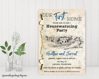Housewarming Party Invitations, Our First Home Party Invite, New Home Party Invitations, Open House Invitations, Welcome Home Party, H32004