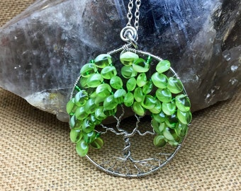 Green Tree Of Life necklace, wire tree of life, tree necklace, green tree necklace, tree of life jewelry, wire wrapped tree of life