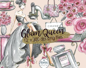 Glam Fashion Clip Art, Fashion Illustration, Bouquet Hand bag Shoes flowers Graphics, Planner Stickers, Planner Girl Digital Cliparts