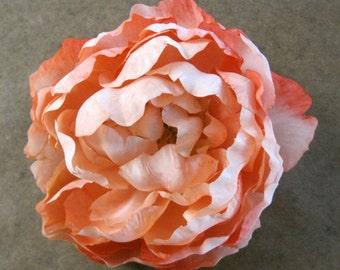 "Full 5"" Peach Cream Peony Silk Flower Hair Clip"