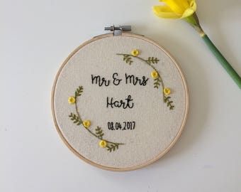 Customisable Wedding Day Embroidery Hoop
