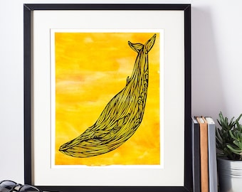 Yellow Whale Printable Art, Watercolor Nursery Wall Print Illustration, Poster, Decor, Instant Download, 8x10