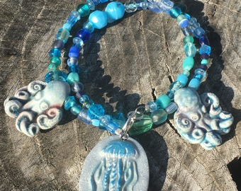 Blue Octopus and Jellyfish Beaded Necklace