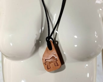 Real Leather Embossed Necklace for Men and Women - Brown Black -