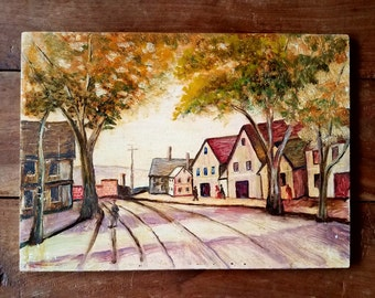Oil on Wood Painting Signed L. Nagy, Nagy Artist, Original Art, Modern art, Oil Painting, Cabin Art