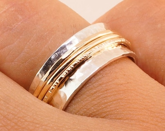 Sterling Silver and Gold Spinner Ring - Engagement Ring - Meditation Rings - Gift for Him - Gift Her