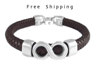 Infinity bracelet - Infinity mens leather bracelet - Anniversary gifts - Gift idea for him - Infinite - Custom made braided bracelet