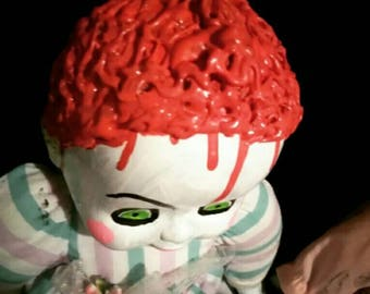 Protruding brains creepy doll