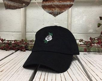 WHITE ROSE Baseball Hat Curved Bill Low Profile Embroidered Baseball Caps Dad Hats Black