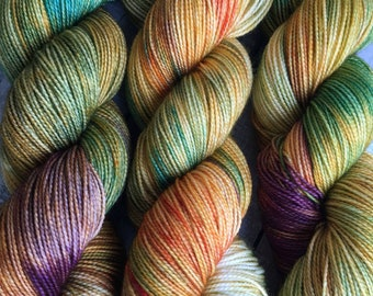 Variegated Hand Dyed Yarn - Wild Begonias from our Secret Garden Collection, Fingering Weight,80/20 Superwash Merino-Nylon,Toad Hollow yarns