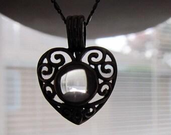 Vintage Pools of Light Rock Quartz Orb Heart Sterling Necklace