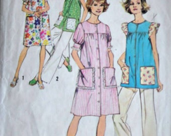 Vintage 70's Simplicity 6414 Sewing Pattern, Misses Women's Smock Dress Or Top, Size 16, 38 Bust, Retro 1970's