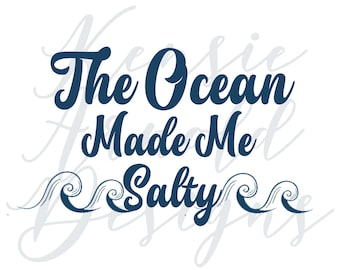 The Ocean Made Me Salty Monogram Addition for Dog Bandana - Matte & HOLO Options