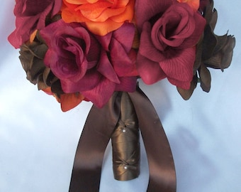 """17 Pieces Package Silk Flower Wedding Decoration Bridal Bouquet Fall Orange """"Lily Of Angeles"""" ORBR02"""