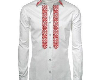 Ukrainian embroidery for man / Ukrainian clothes / Custom made shirts/ Red ukrainian  embroidered shirt