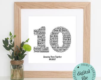 10TH ANNIVERSARY GIFT - Word Art - Printable Gift - 10 Year Anniversary - 10th Wedding Anniversary - Tin Anniversary - Personalised Gift