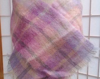 Vintage Ladies women's Weavers Workshop plaid lavender purple pink wool mohair scarf.  Made in England.