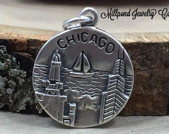 Chicago Charm, Illinois Charm, Chicago Pendant, Sterling Silver Chicago Charm, Sterling Silver Charm, PS3197