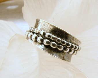 Sterling Silber texturierte Spinner Ring - Größe 5,5 - 6, Fidget Ring aus Sterlingsilber