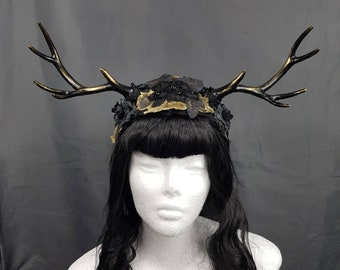 Gold/Black Antlers headpiece with roses, unique Paganheadpiece
