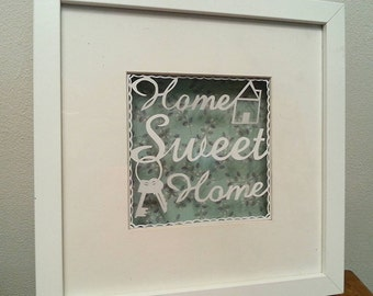Papercutting template home sweet home with key template