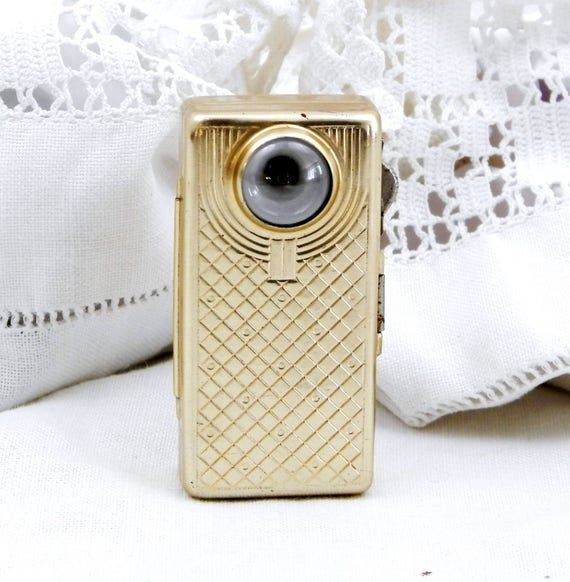 """Small Vintage French Ladies Flashlight Gold Colored Anodized Metal Made by Wonder the """"Macro"""" Retro Torch From France Lamp, Upcycled Decor"""