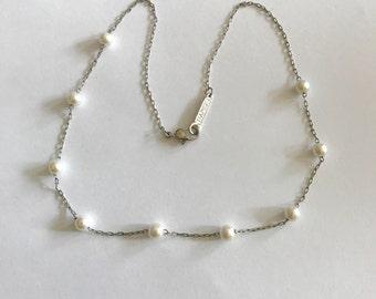 Napier jewelry beaded pearl choker necklace mid century