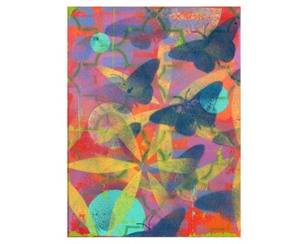 SUMMER, spray paint art, ORIGINAL 9x12 PAINTING, grafitti art, butterflies, impasto,  by Elizabeth Rosen