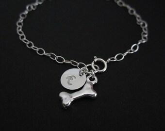 Dog Lover Bracelet. Personalized Jewelry. Initial Bracelet. Sterling Silver Jewelry.Dog Bone Charm. Pet Lover Jewelry.Bracelet for Dog Lover