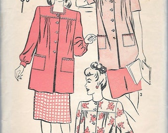 "Vintage 1940's Advance 4137 Maternity Smock Sewing Pattern Size Medium 14-16 Bust 32""-34"""