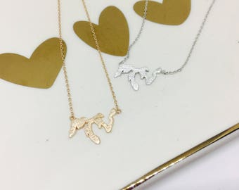 Great Lakes Necklace, 14k Gold plated/Rose Gold/Silver, Dainty Necklace