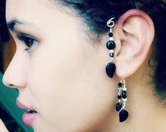 Fantasy Elemental Ear Cuff  Black and Silver