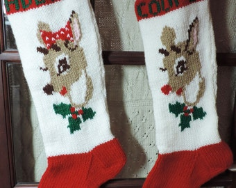 Christmas Stocking, Hand Knitted, Reindeer SET, personalized with Name