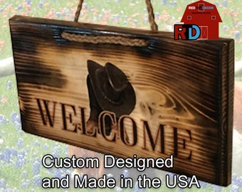 Country and Western Small Rustic Smoked Welcome Sign with Pair of Boots and Cowboy Hat designed and handmade by BJ and Bailey